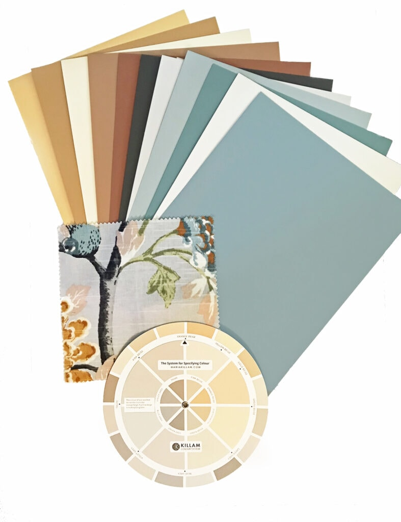 fan deck of paint colour sample boards matching the colours in a fabric print with nature scene