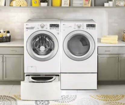 Laundry Pedestal with Storage Drawers for Washers and Dryers in White