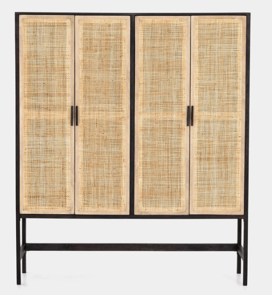 The Laine Cabinet is great for a small laundry room - a two-toned contrasted cabinet with a textural twist. The washed black acacia forms spacious and open shelving, while natural cane weaves to cover four mango-framed doors. The simple Parsons-style base and black iron hardware pulls add eye-catching contrast to modern cabinetry.