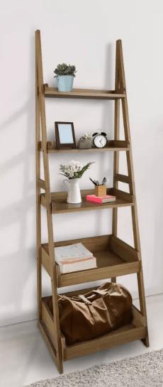 """74"""" 5 Shelf Ladder Bookcase Alpine Gra"""