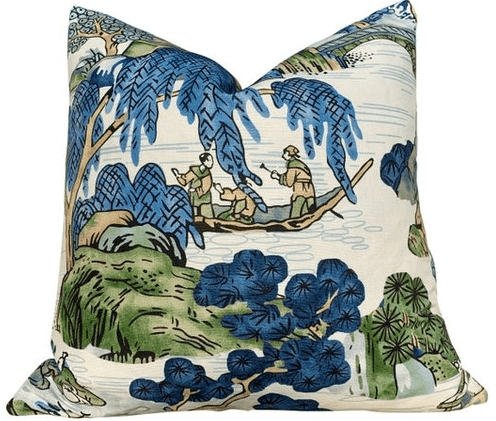 Thibaut Asian Scenic Pillow In Blue and Kelly