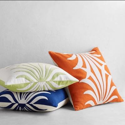 Acanthus Linen Reversible Velvet Applique Pillow Cover
