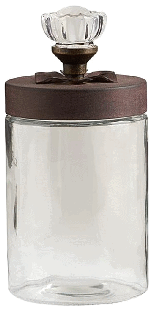 K&K Interiors Decorative Jars - 9'' Rose Top Glass Jar
