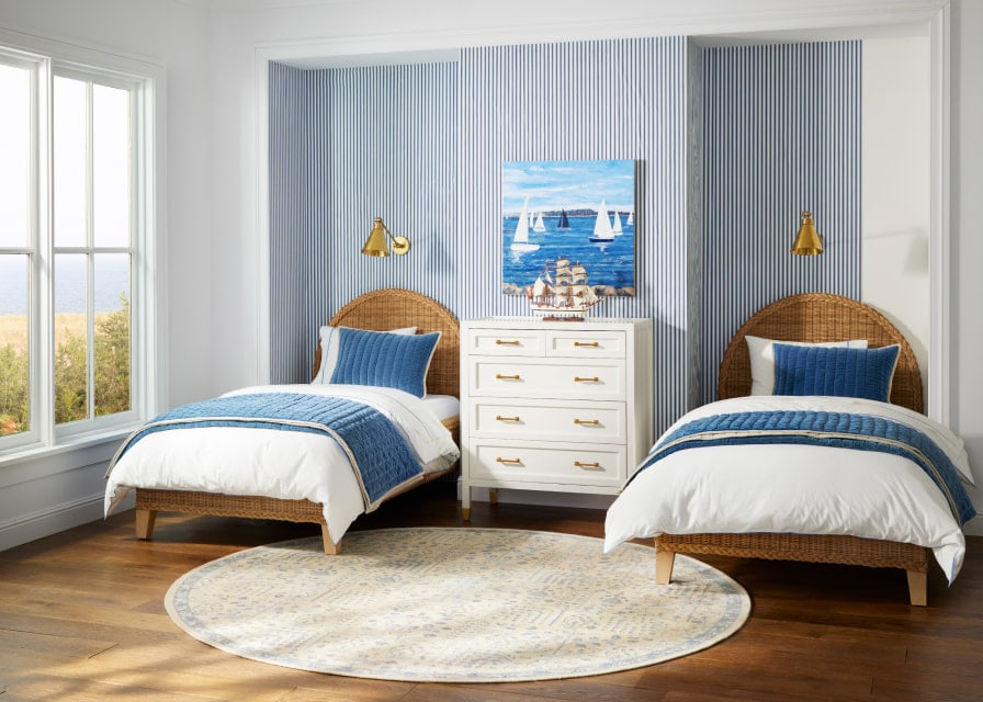blue and white bedroom with nautical theme